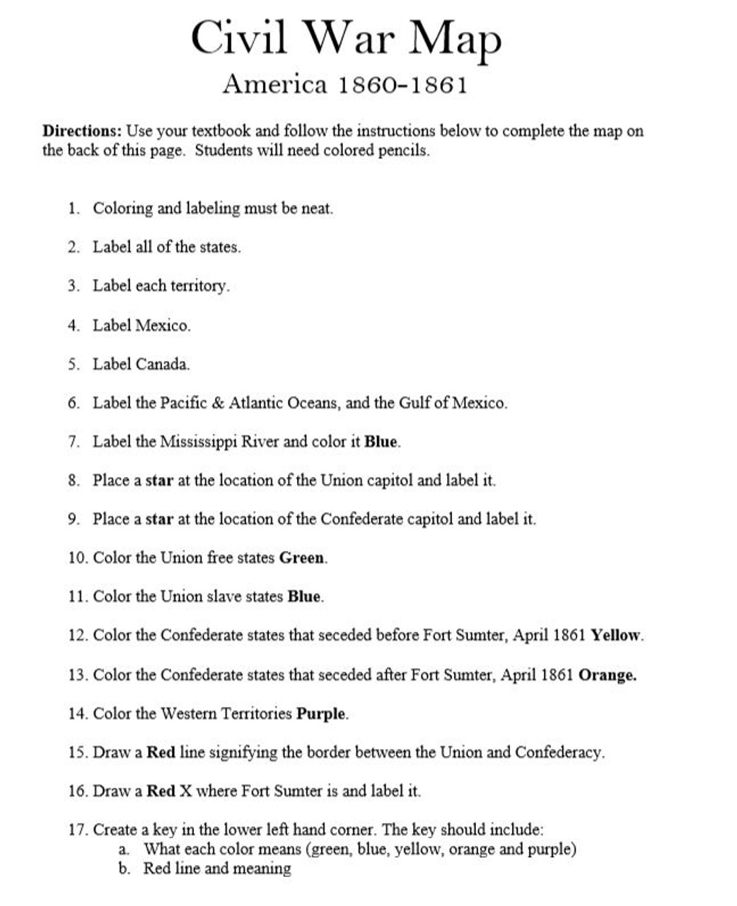 hight resolution of United States of America Civil War Mapping Activity and Quiz - Amped Up  Learning
