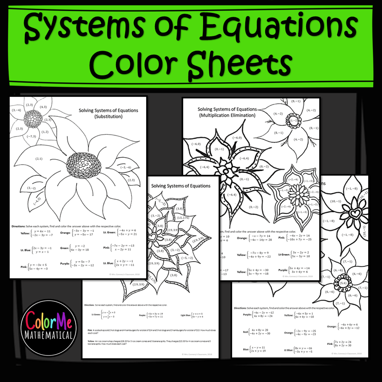 Solving Systems of Equations Color by Number Worksheets - Amped Up Learning [ 1280 x 1280 Pixel ]