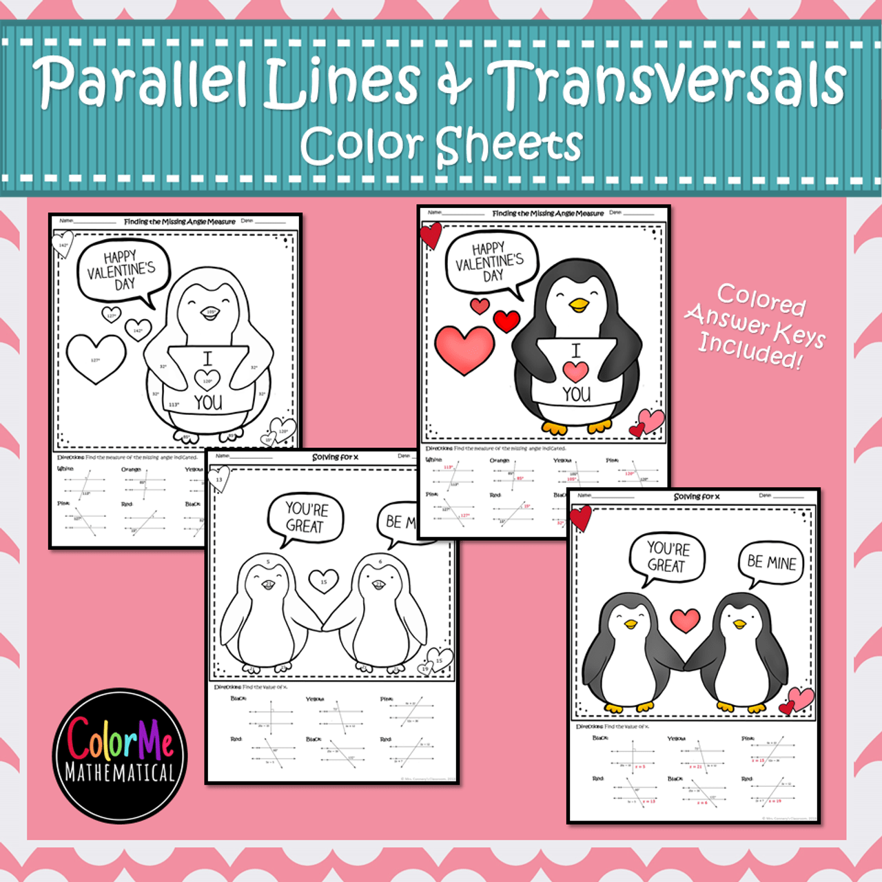 Parallel Lines cut by a Transversal Color by Number Worksheets - Amped Up  Learning [ 1280 x 1280 Pixel ]