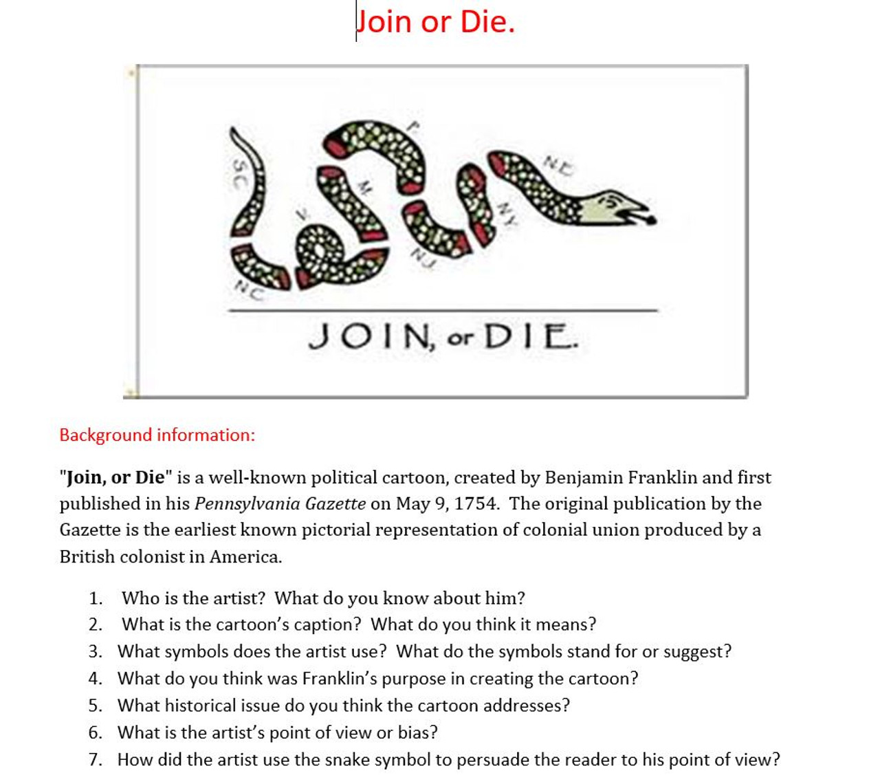 French and Indian War: American Revolution: Join or Die Cartoon - Amped Up  Learning [ 1127 x 1280 Pixel ]