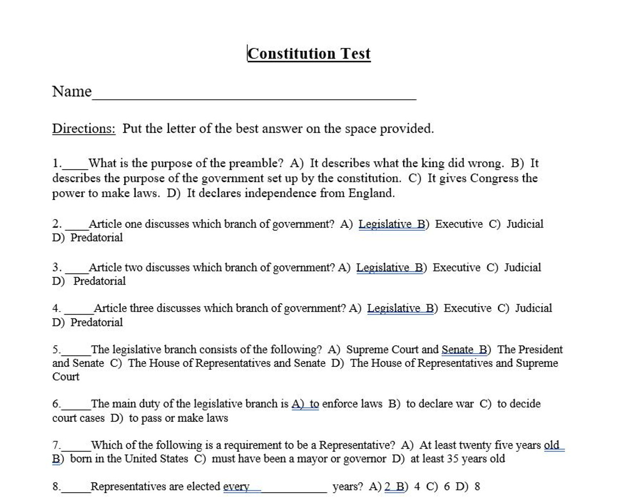 hight resolution of US Constitution Test and Answer Key - Amped Up Learning
