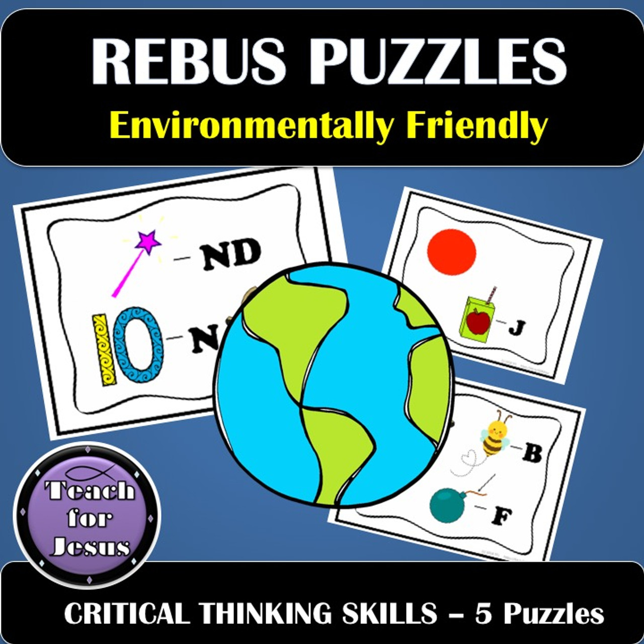 Critical Thinking Game   Earth Friendly Rebus Puzzles - Amped Up Learning [ 1280 x 1280 Pixel ]