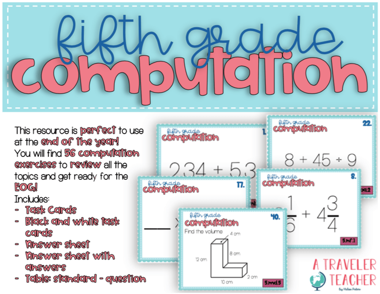 hight resolution of 5th Grade Review EOG Preparation Computation - Amped Up Learning
