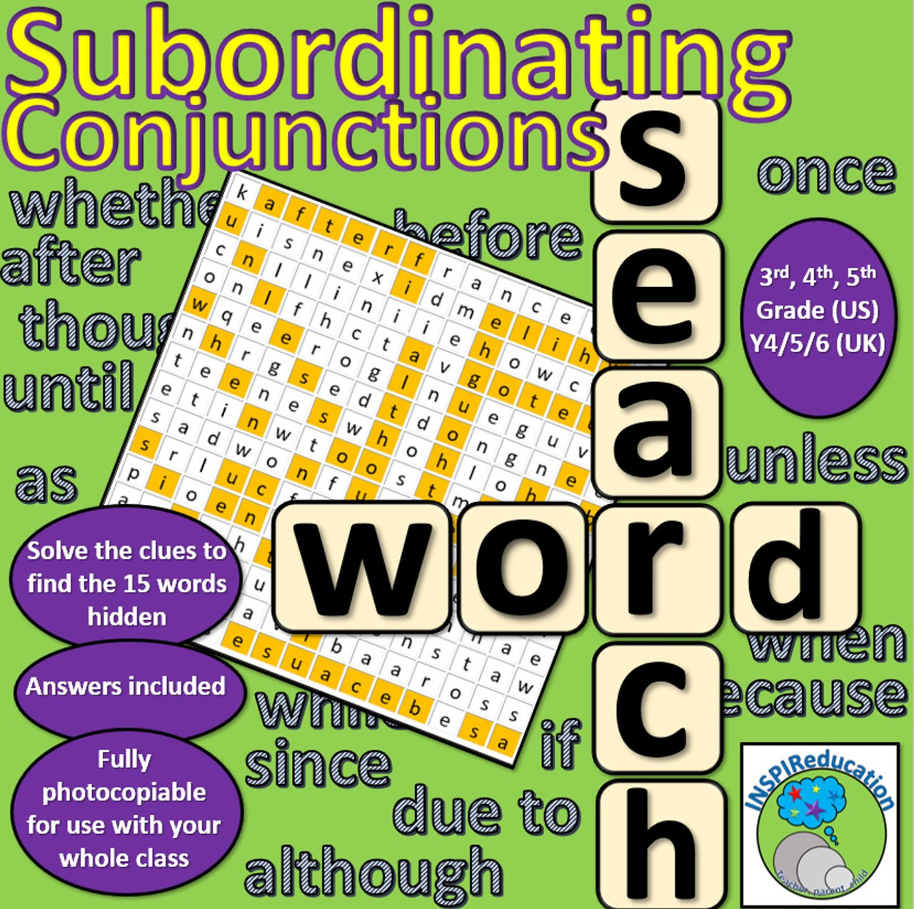 Subordinating Conjunctions Wordsearch (Find all 15 conjunctions) - Amped Up  Learning [ 1273 x 1280 Pixel ]