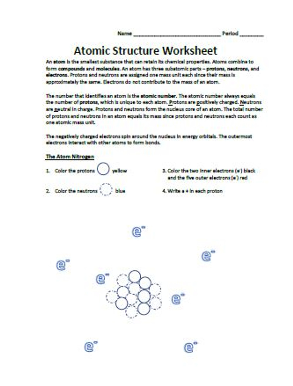 Atomic Structure Worksheet - Amped Up Learning [ 1280 x 971 Pixel ]
