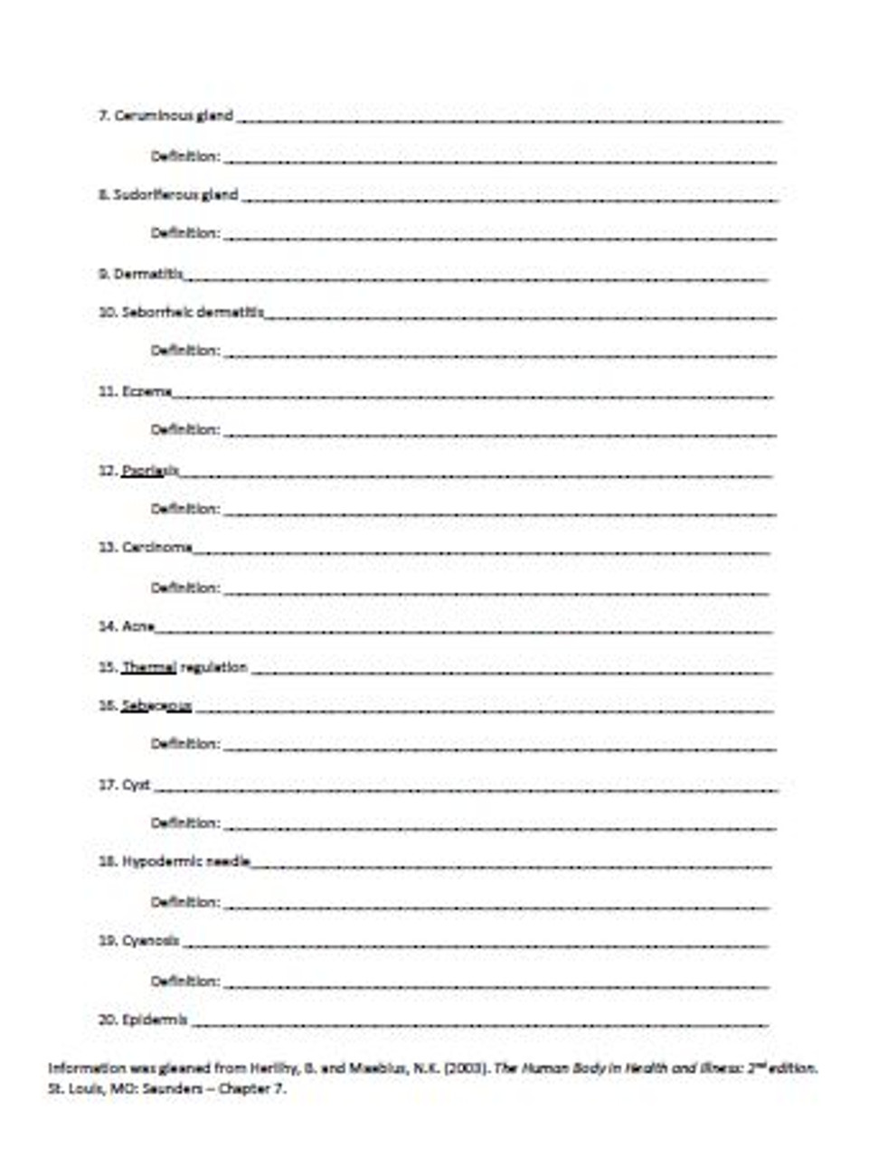 hight resolution of Integumentary System Latin Root Word Worksheet - Amped Up Learning