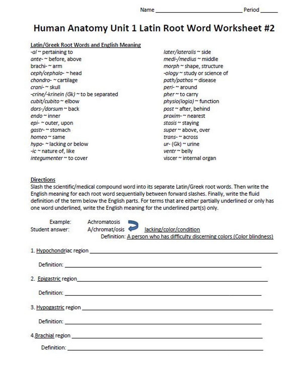 Latin Root Word Worksheet Set for Unit One Human Anatomy \u0026 Physiology -  Amped Up Learning [ 1280 x 1029 Pixel ]