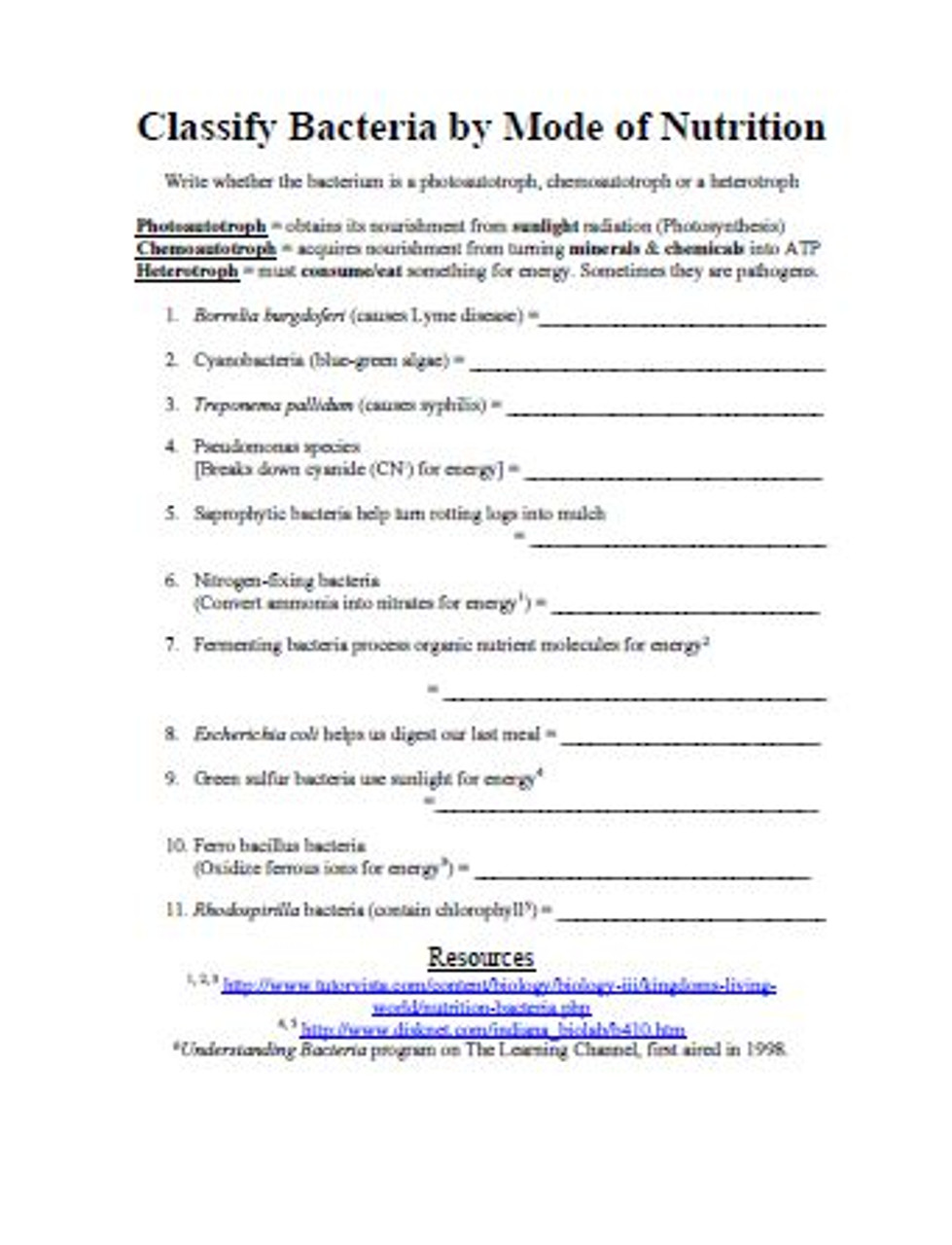 medium resolution of Bacterial Classification by Modes of Nutrition and Gas Exchange Worksheet -  Amped Up Learning