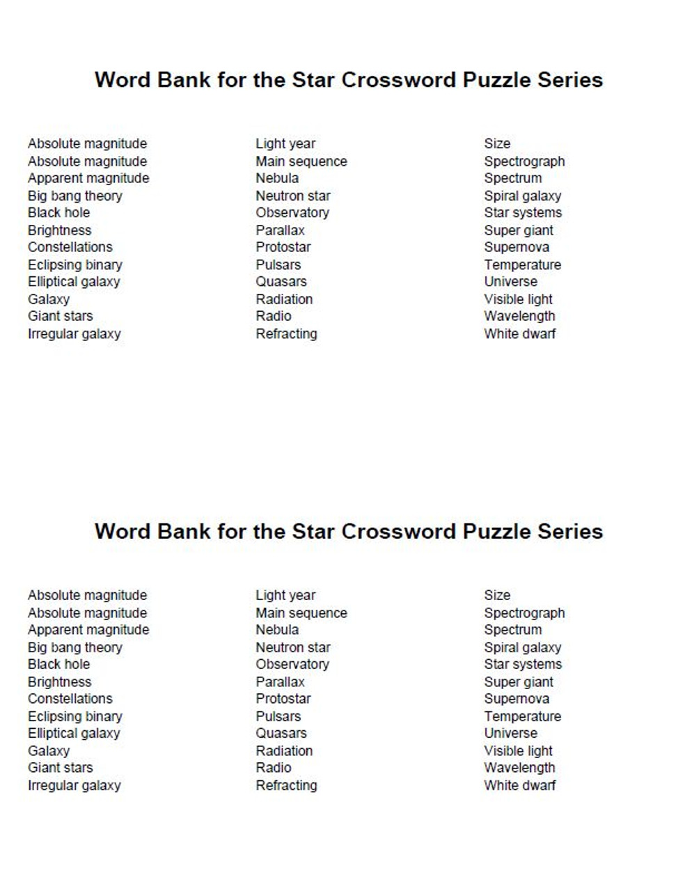 hight resolution of Stars and Galaxies Crossword Puzzle Series - Amped Up Learning