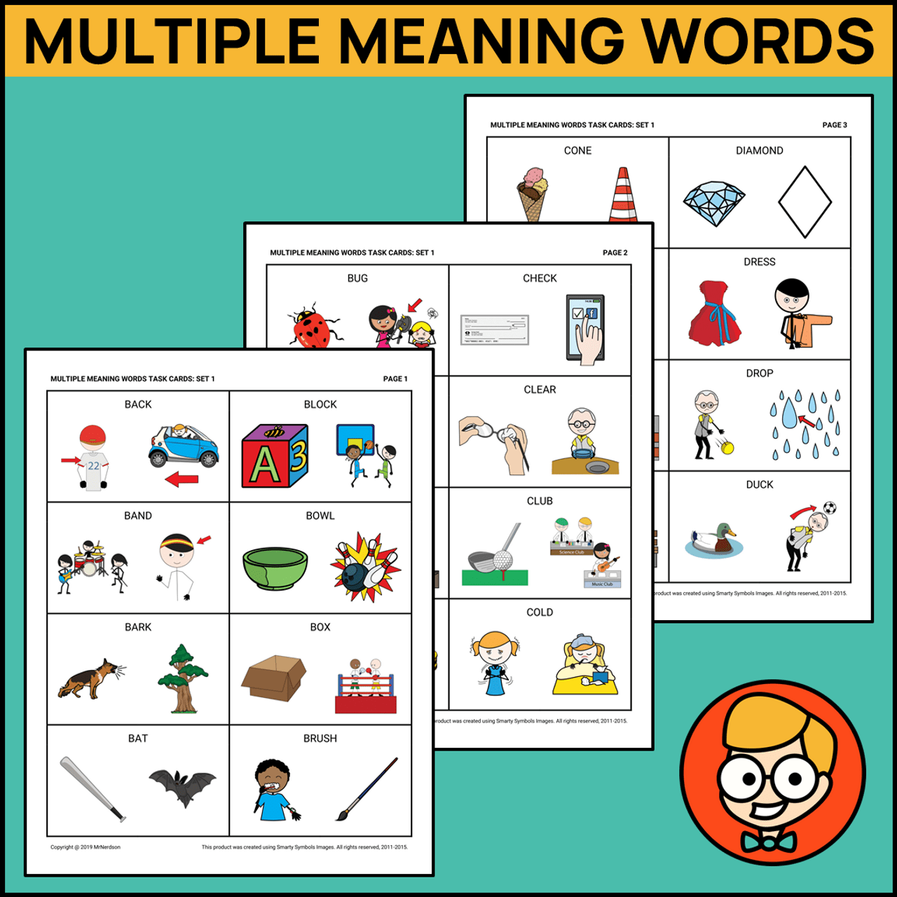 Multiple Meaning Words Task Cards - Set 1 - Amped Up Learning [ 1280 x 1280 Pixel ]