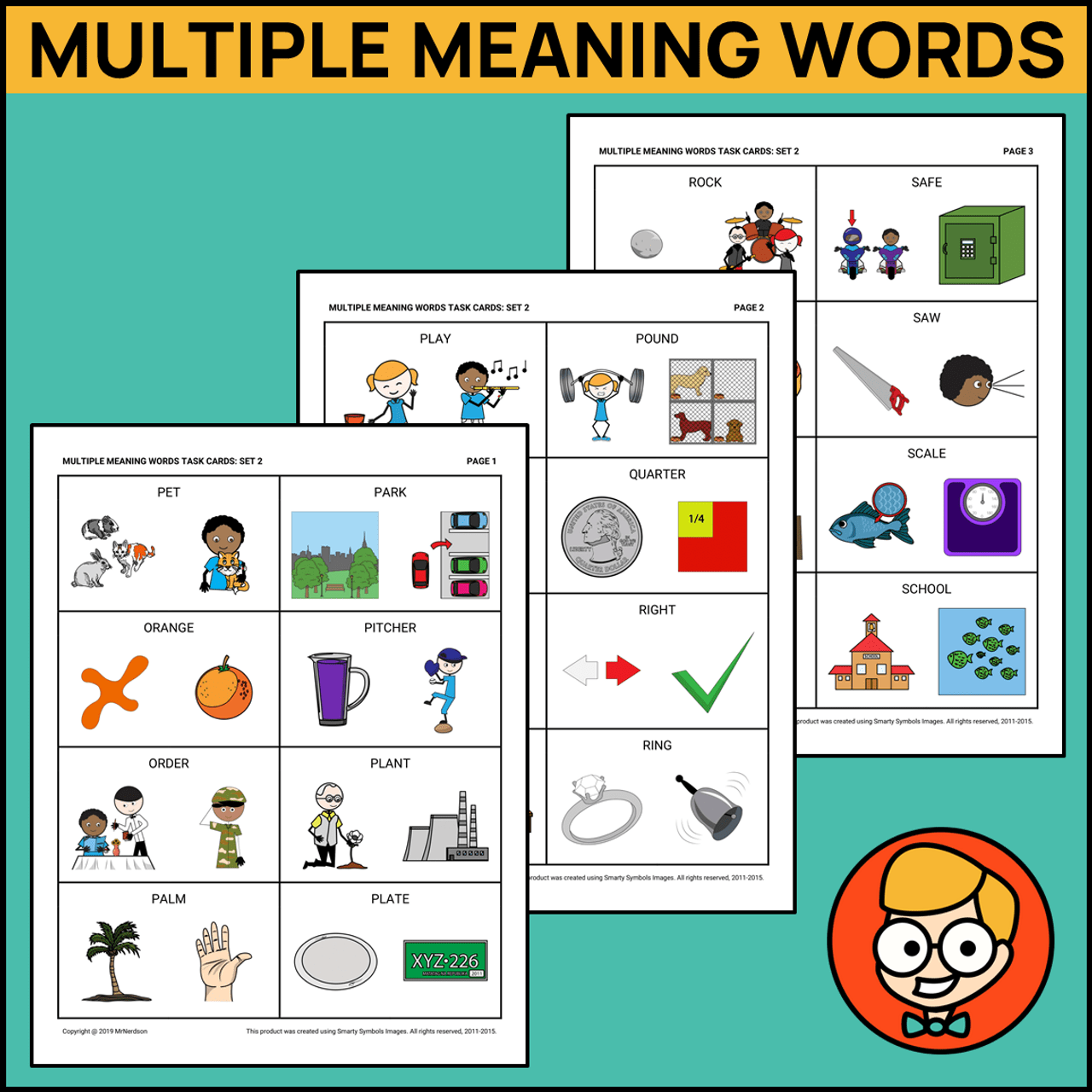Multiple Meaning Words Task Cards - Set 2 - Amped Up Learning [ 1280 x 1280 Pixel ]