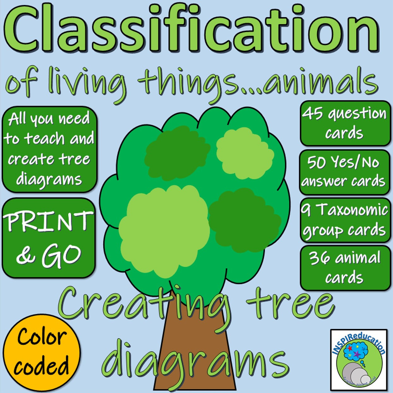 hight resolution of Classification of Animals - Science Taxonomic Groups: Tree Diagrams (Yes/No  Branch Diagrams) - Amped Up Learning