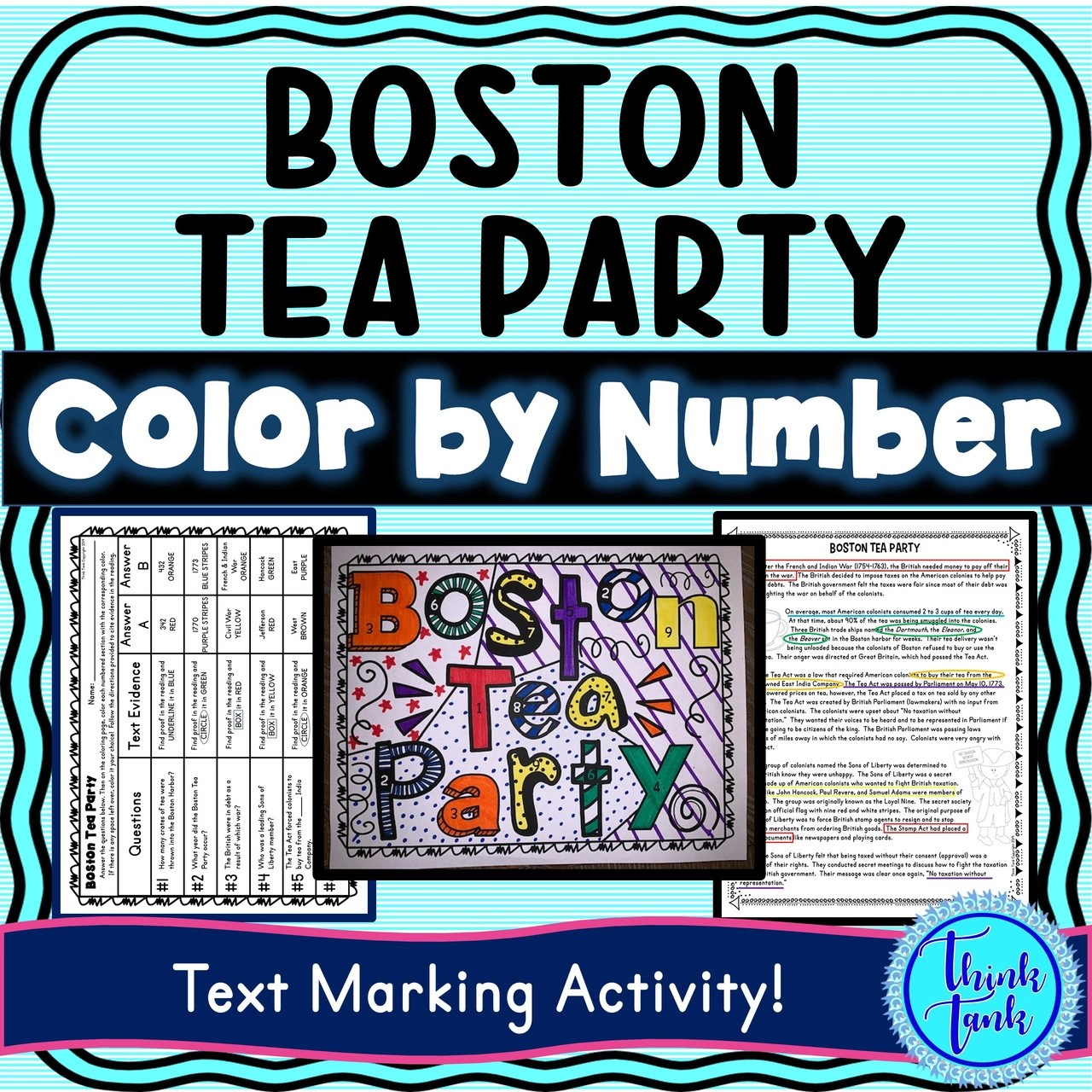 Boston Tea Party Color by Number [ 1280 x 1280 Pixel ]