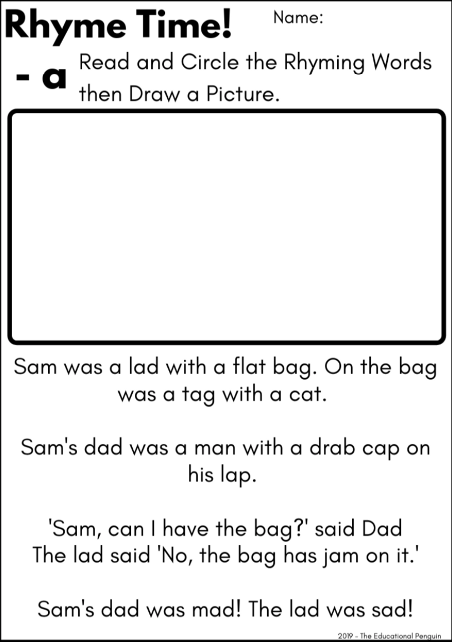 Rhyme Worksheet Activity Pack - Short Vowel Sounds - Amped Up Learning [ 1280 x 902 Pixel ]