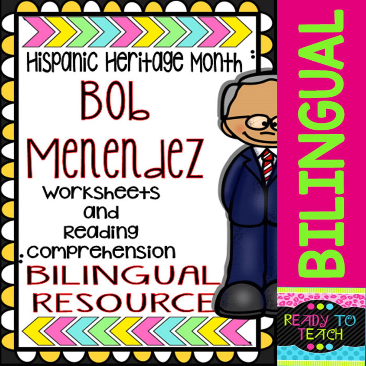 Hispanic Heritage Month - Bob Menendez - Worksheets and Readings (Bilingual)  - Amped Up Learning [ 1280 x 1280 Pixel ]