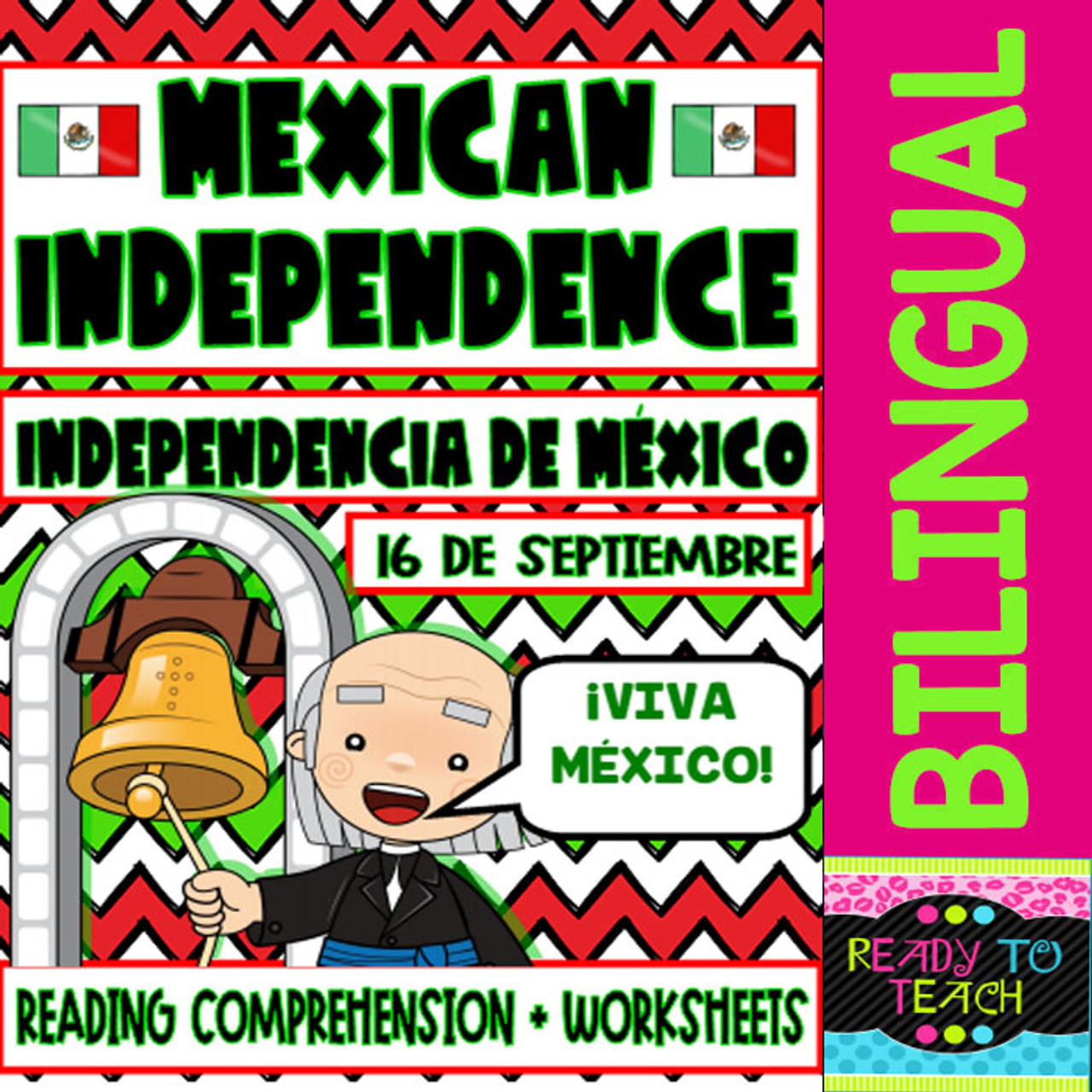 Mexican Independence - Independencia de Mexico - Reading and Worksheets -  Bilingual - Amped Up Learning [ 1280 x 1280 Pixel ]