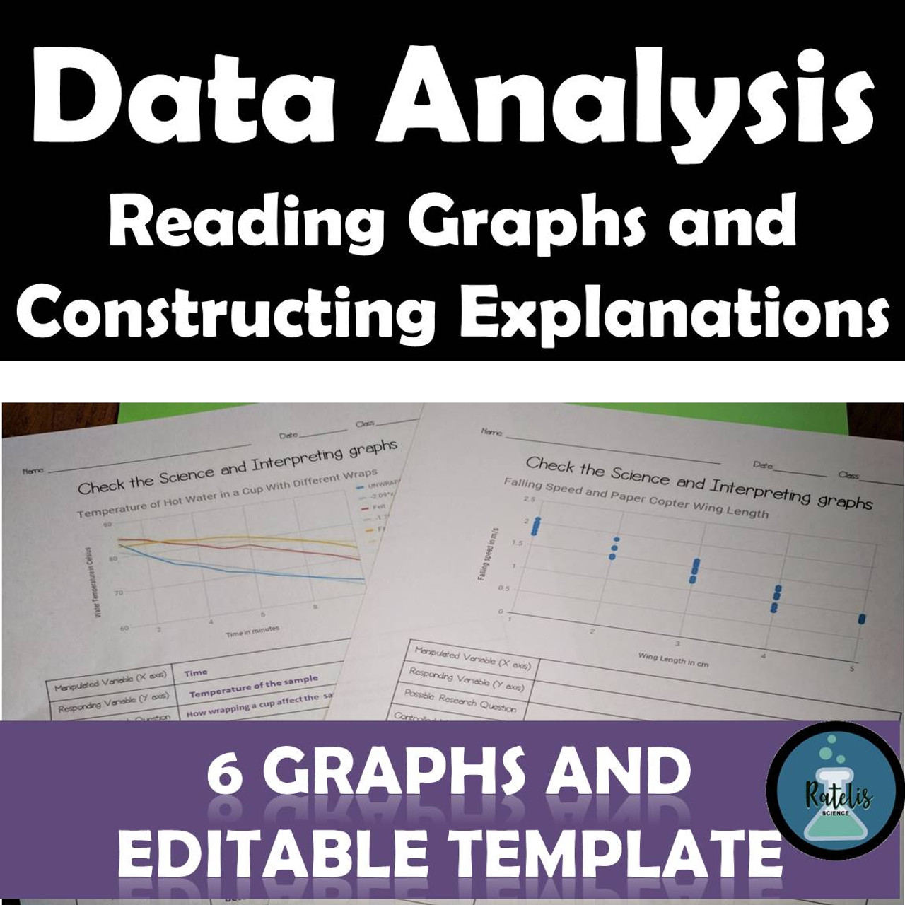 NGSS SEP: Analyzing and Interpreting Data Set #1: Reading Graphs and CER  set of 6 - Amped Up Learning [ 1280 x 1280 Pixel ]