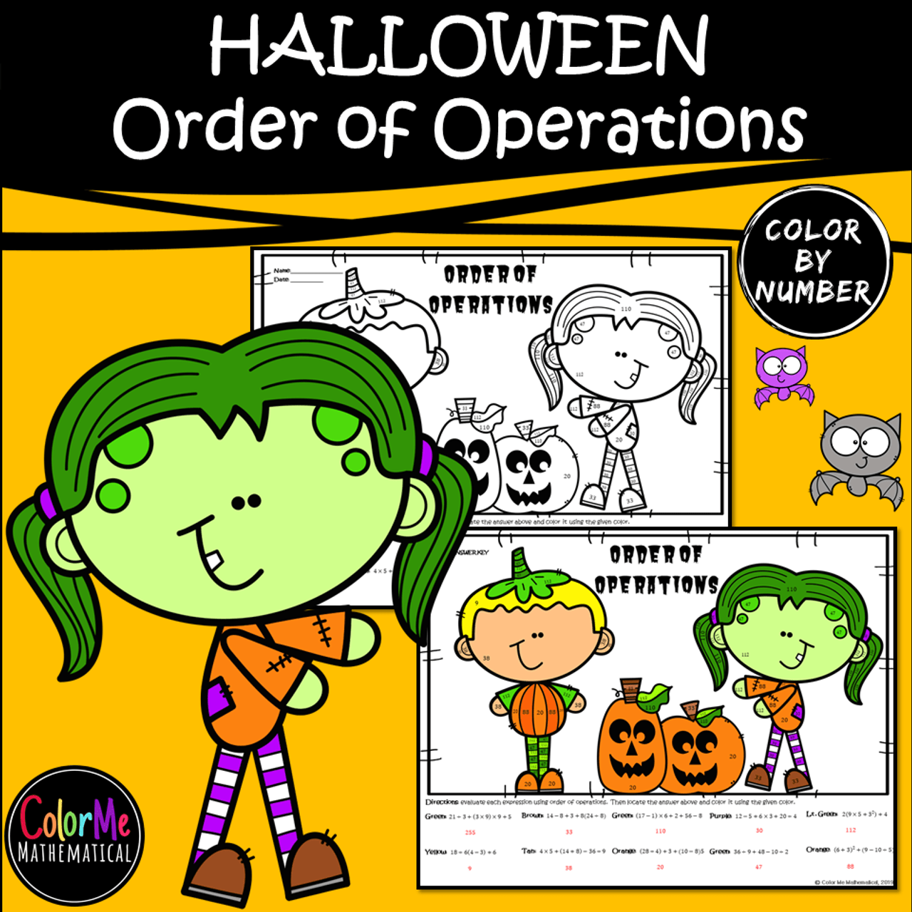 hight resolution of Halloween Basic Algebra - Order of Operations Worksheet - Color by Number -  Amped Up Learning