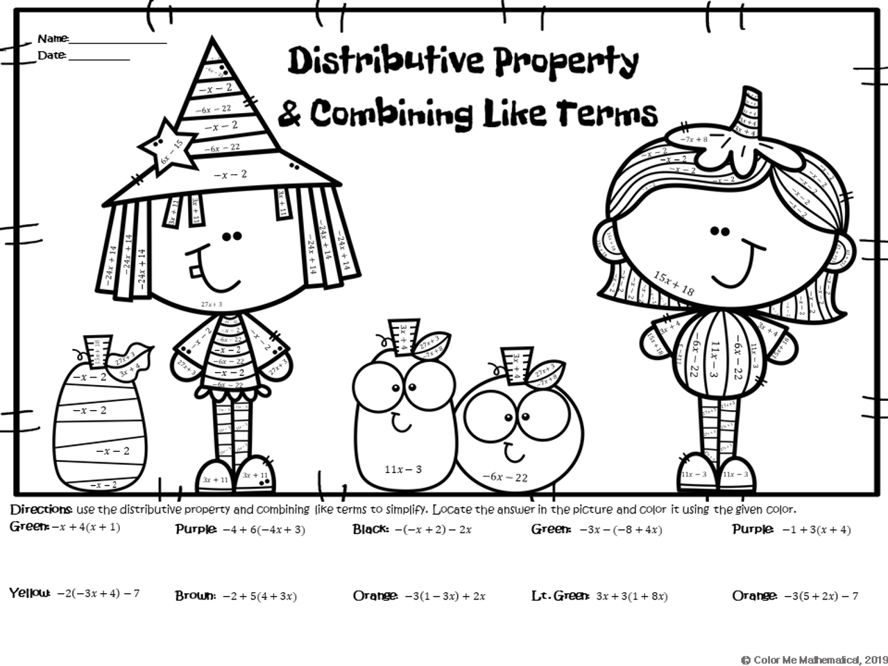 hight resolution of HALLOWEEN - Basic Algebra - Distributive Property \u0026 Combining Like Terms -  Amped Up Learning