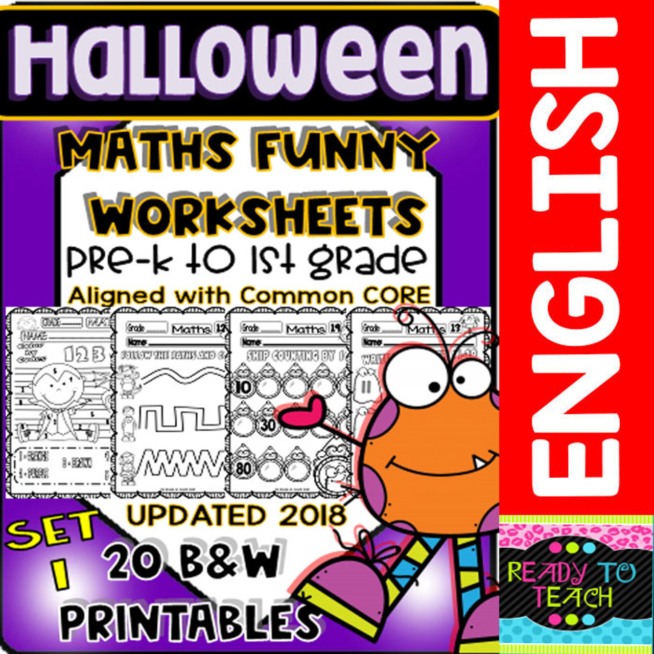 Halloween Maths Funny Worksheets - 20 B\u0026W Printables - Set 1 - Amped Up  Learning [ 1280 x 1280 Pixel ]