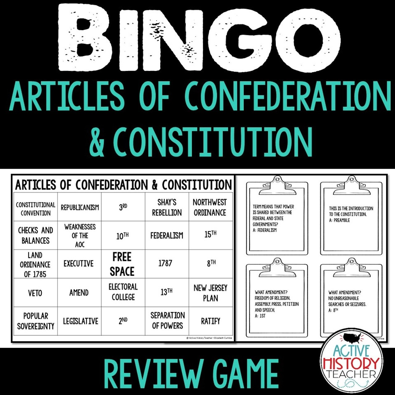 Articles of Confederation Constitution Bingo Review STAAR Review - Amped Up  Learning [ 1280 x 1280 Pixel ]
