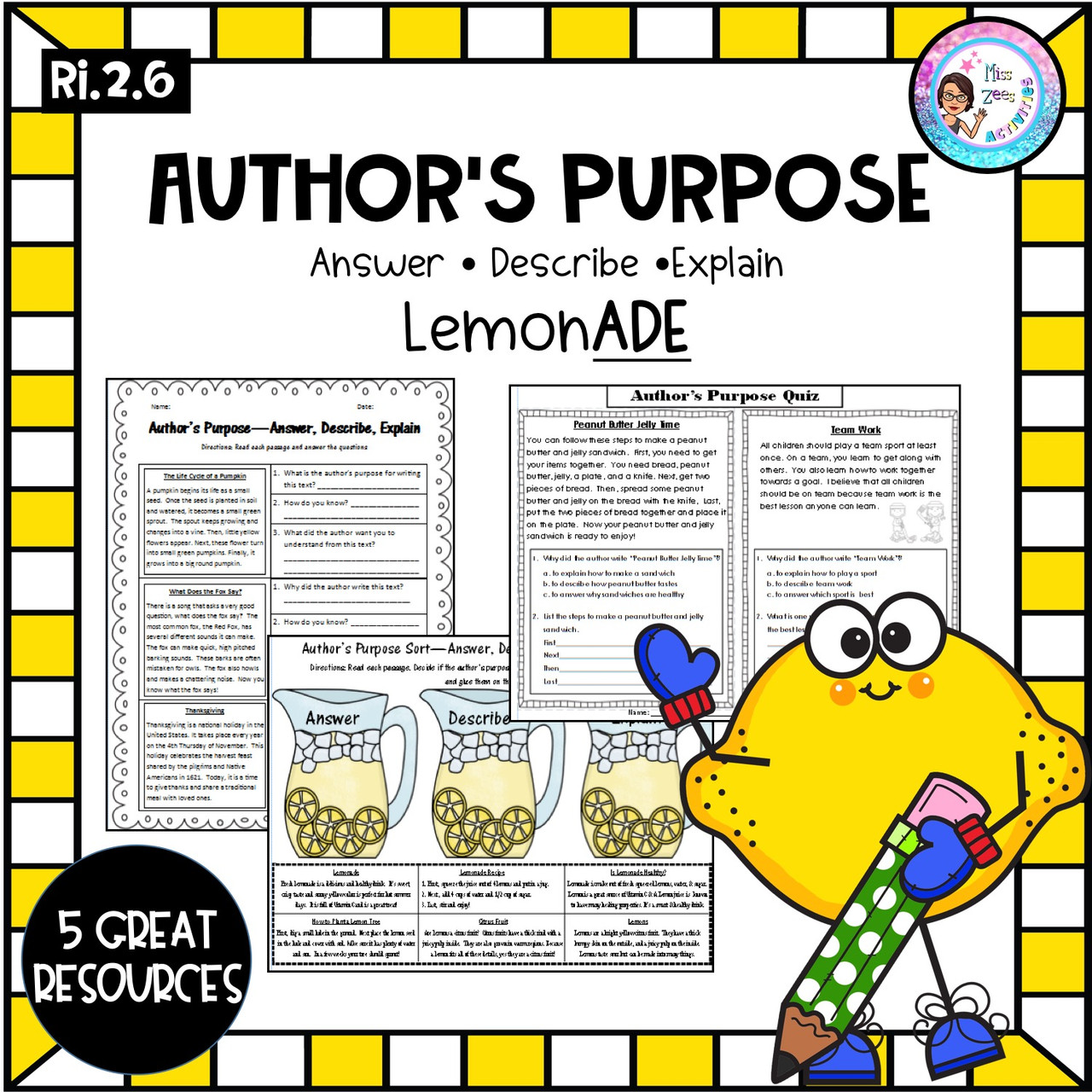 medium resolution of Author's Purpose Pack - Answer