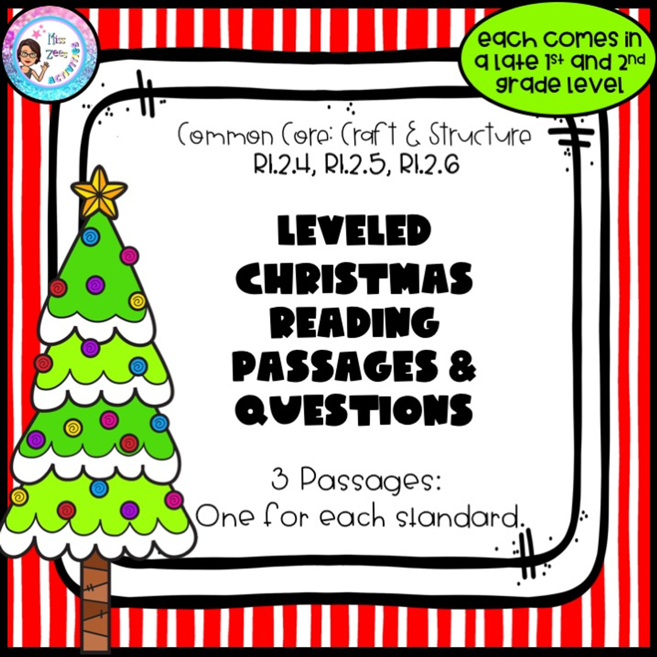 3 Leveled Christmas Reading Passages and Questions - Craft and Structure -  Amped Up Learning [ 1280 x 1280 Pixel ]