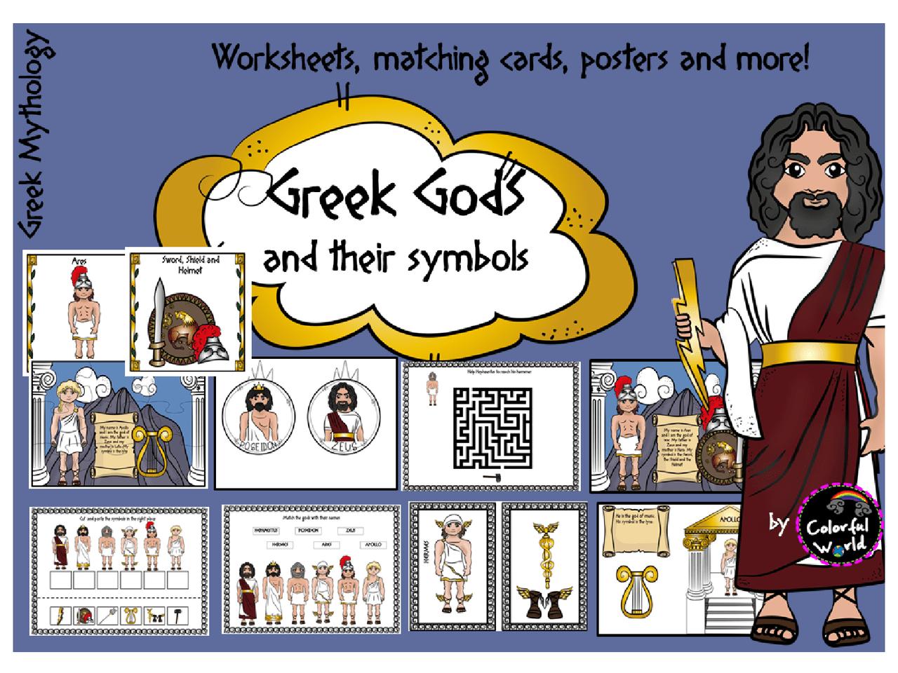 Greek Olympian Gods worksheets [ 960 x 1280 Pixel ]