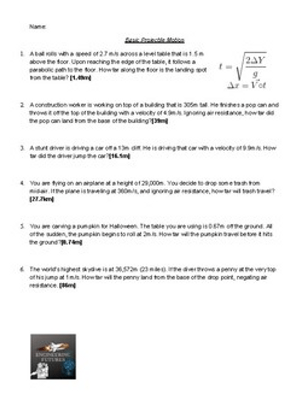 Projectile Motion Worksheets - Amped Up Learning [ 1280 x 965 Pixel ]