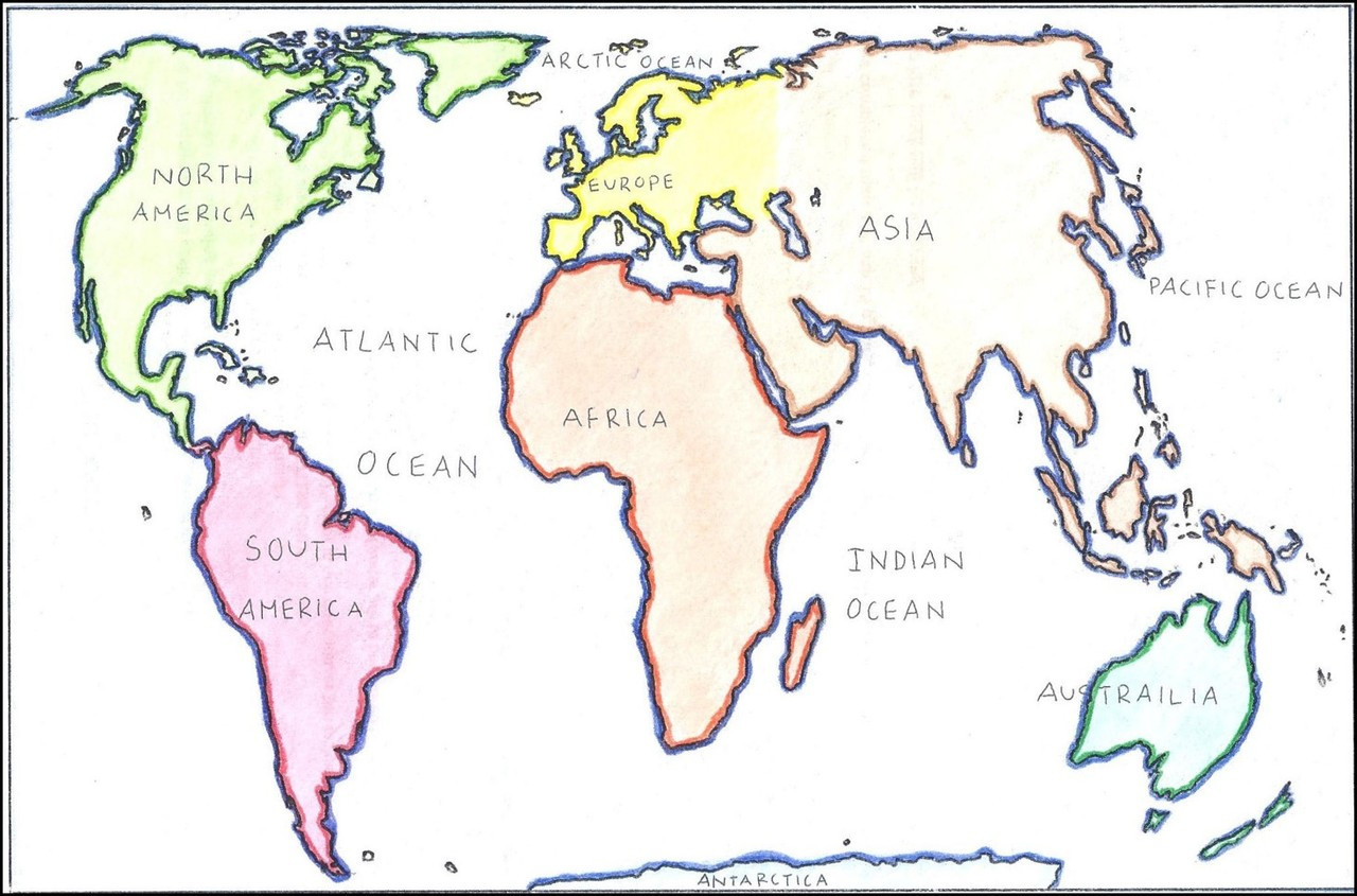 hight resolution of World Map: Continents and Oceans - Amped Up Learning