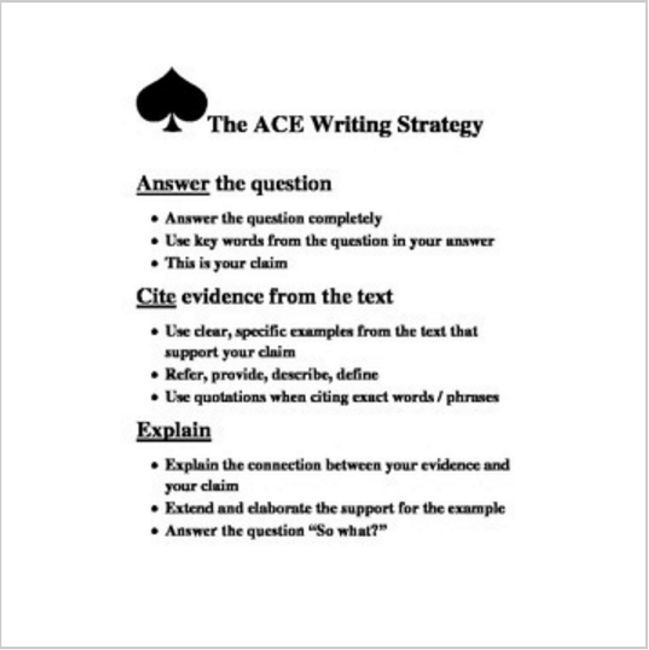 ACE Writing Strategy poster / handout / worksheet - Amped Up Learning [ 1280 x 1278 Pixel ]