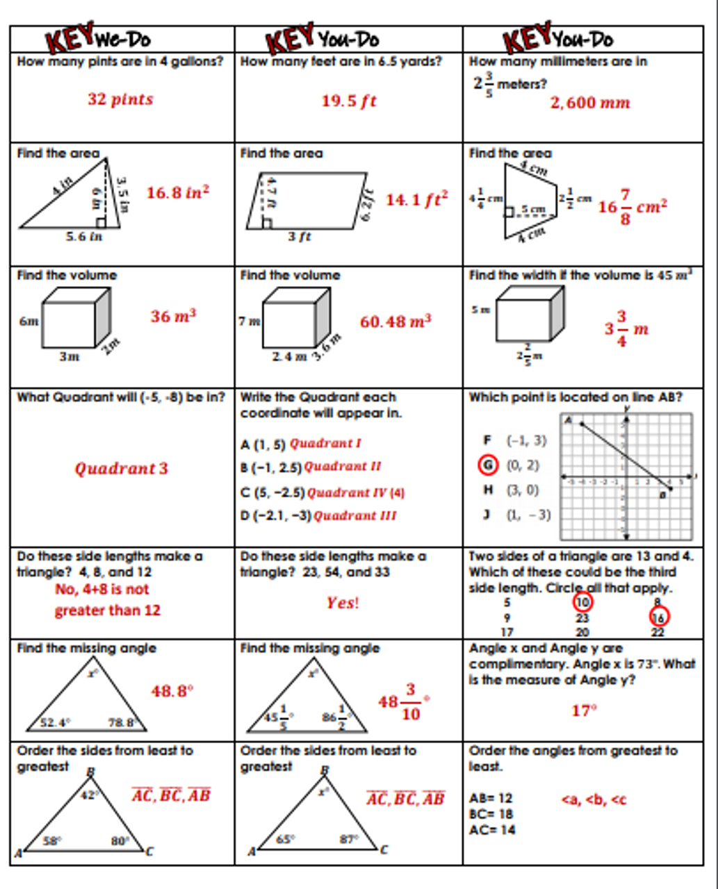 hight resolution of 6th Grade Geometry Review- We-Do