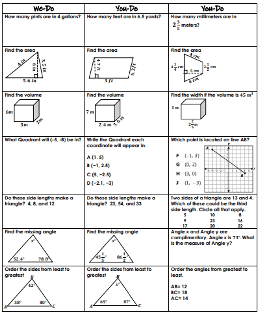 6th Grade Geometry Review- We-Do [ 1280 x 1040 Pixel ]