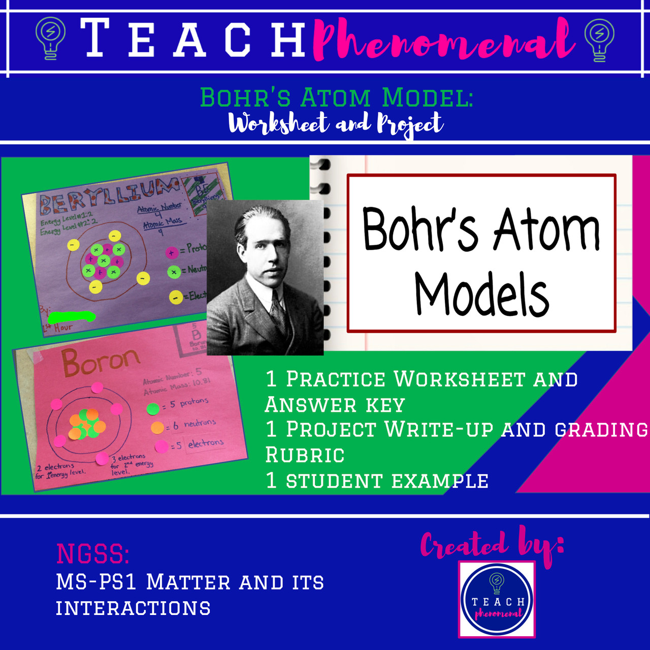 Atoms Project and Worksheet - Bohr's Atom Models - Amped Up Learning [ 1280 x 1280 Pixel ]