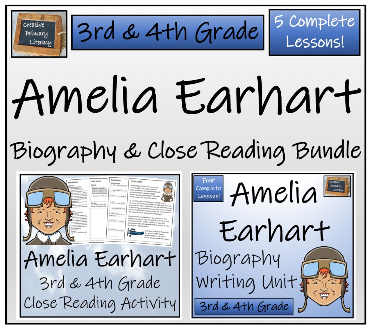 Amelia Earhart - 3rd \u0026 4th Grade Close Read \u0026 Biography Writing Bundle -  Amped Up Learning [ 1137 x 1280 Pixel ]