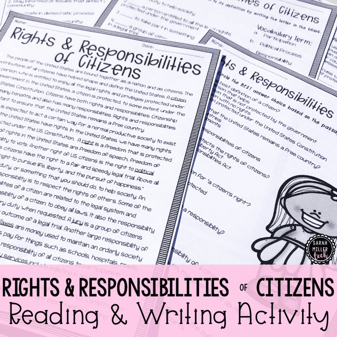 hight resolution of Citizens' Rights \u0026 Responsibilities Reading Activity (SS5CG1) - Amped Up  Learning