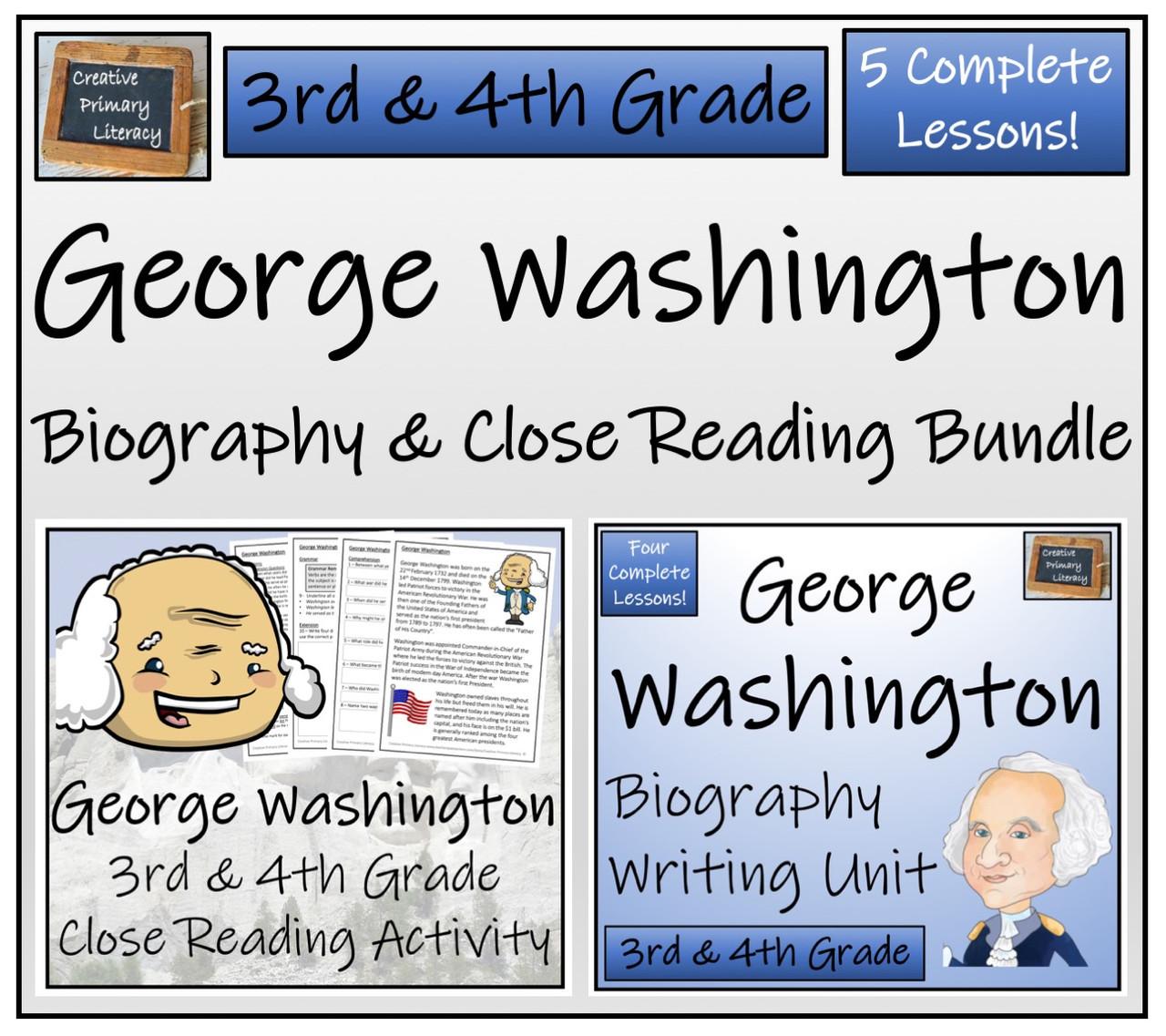 George Washington - 3rd \u0026 4th Grade Close Read \u0026 Biography Writing Bundle -  Amped Up Learning [ 1137 x 1280 Pixel ]