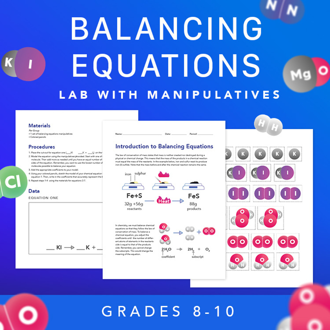 Introduction to Balancing Chemical Equations Lab with Manipulatives - Amped  Up Learning [ 1280 x 1280 Pixel ]