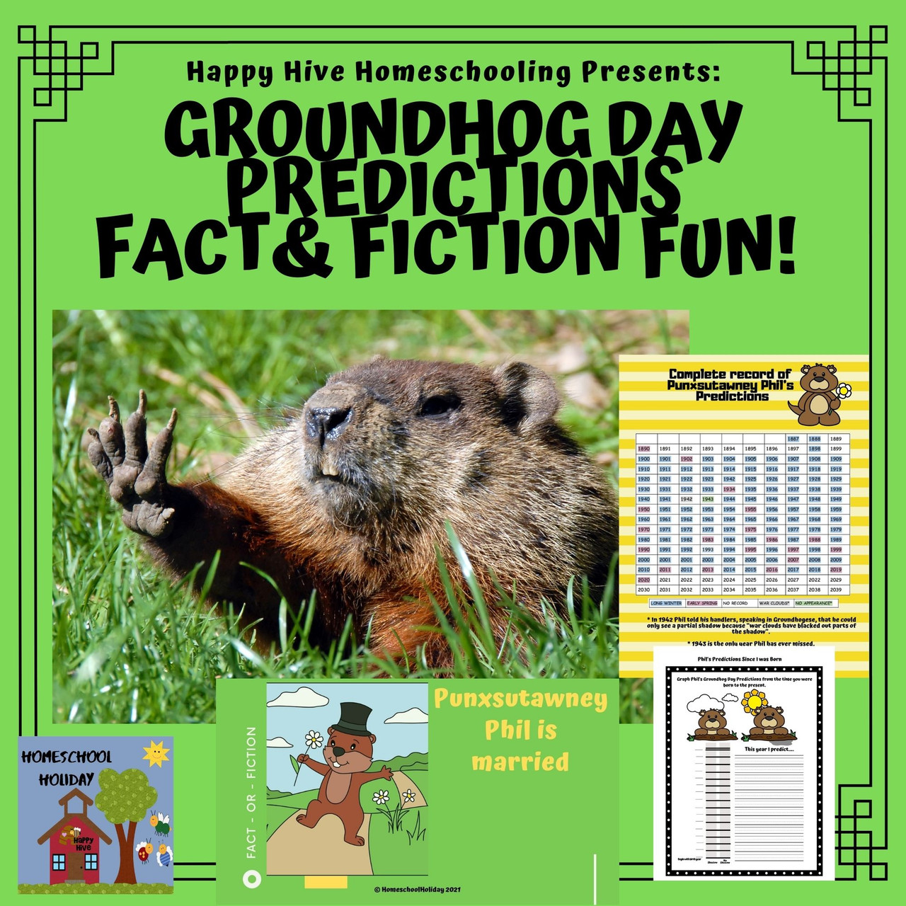 Groundhog Day Groundhog Prediction \u0026 Fun Facts Presentation Activities  Google Slides - Amped Up Learning [ 1280 x 1280 Pixel ]