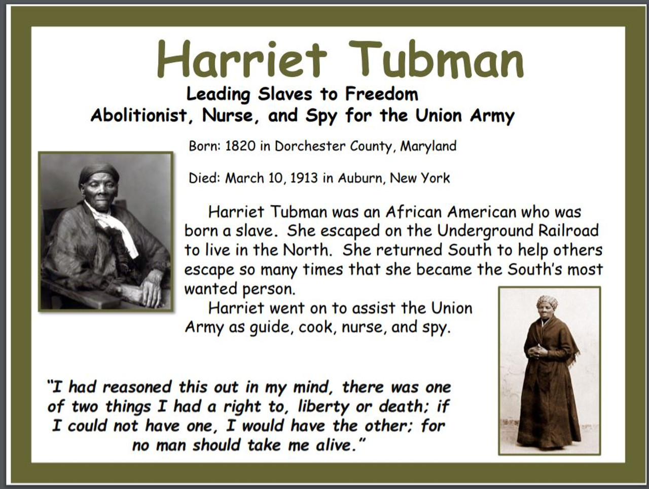 Harriet Tubman Historical Poster - FREE - Amped Up Learning [ 964 x 1280 Pixel ]
