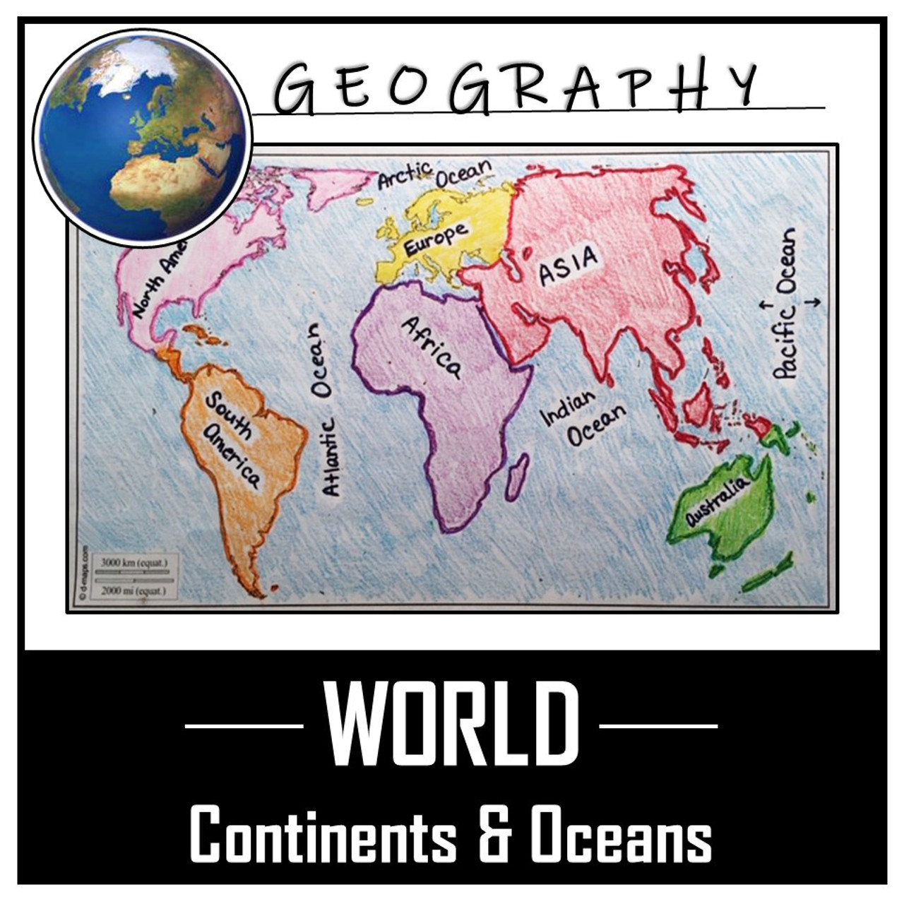 World Map Activity- Label \u0026 Color the Continents and Oceans! - Amped Up  Learning [ 1280 x 1280 Pixel ]