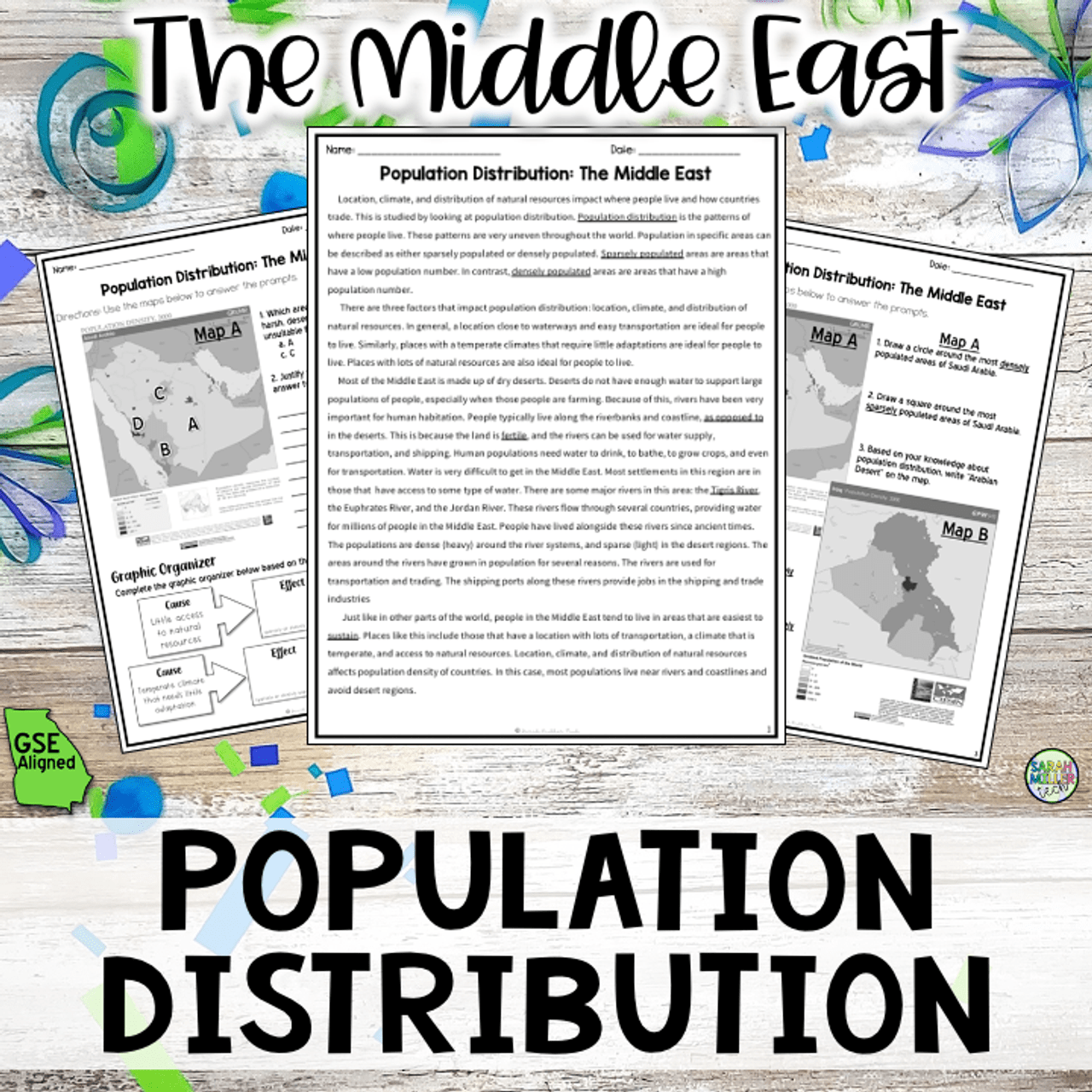 Population Patterns in the Middle East Reading Packet (SS7G7a) - Amped Up  Learning [ 1280 x 1280 Pixel ]
