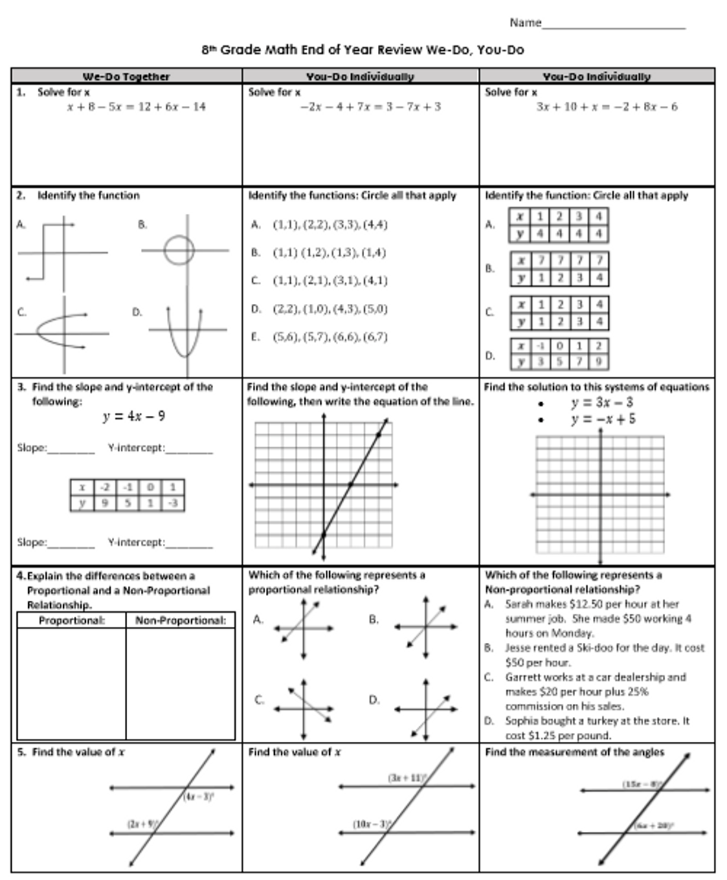 8th Grade Math STAAR Review You Do [ 1280 x 1058 Pixel ]