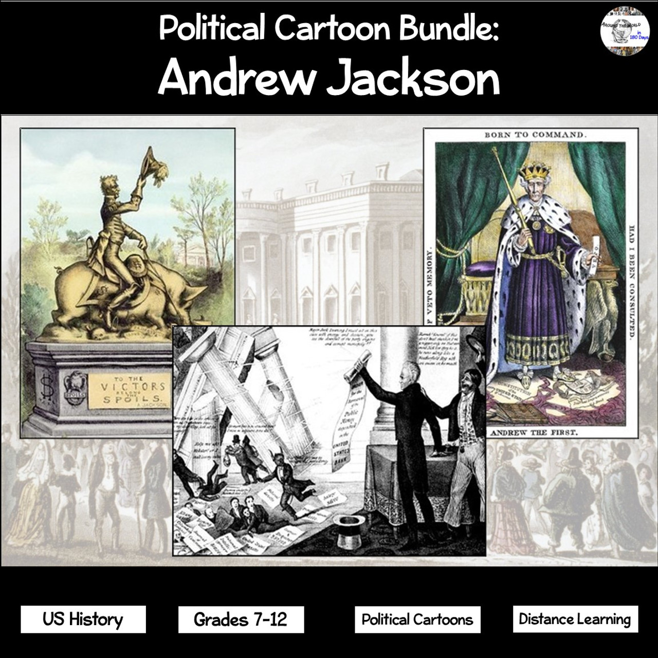 Political Cartoon Bundle: Andrew Jackson - Amped Up Learning [ 1280 x 1280 Pixel ]