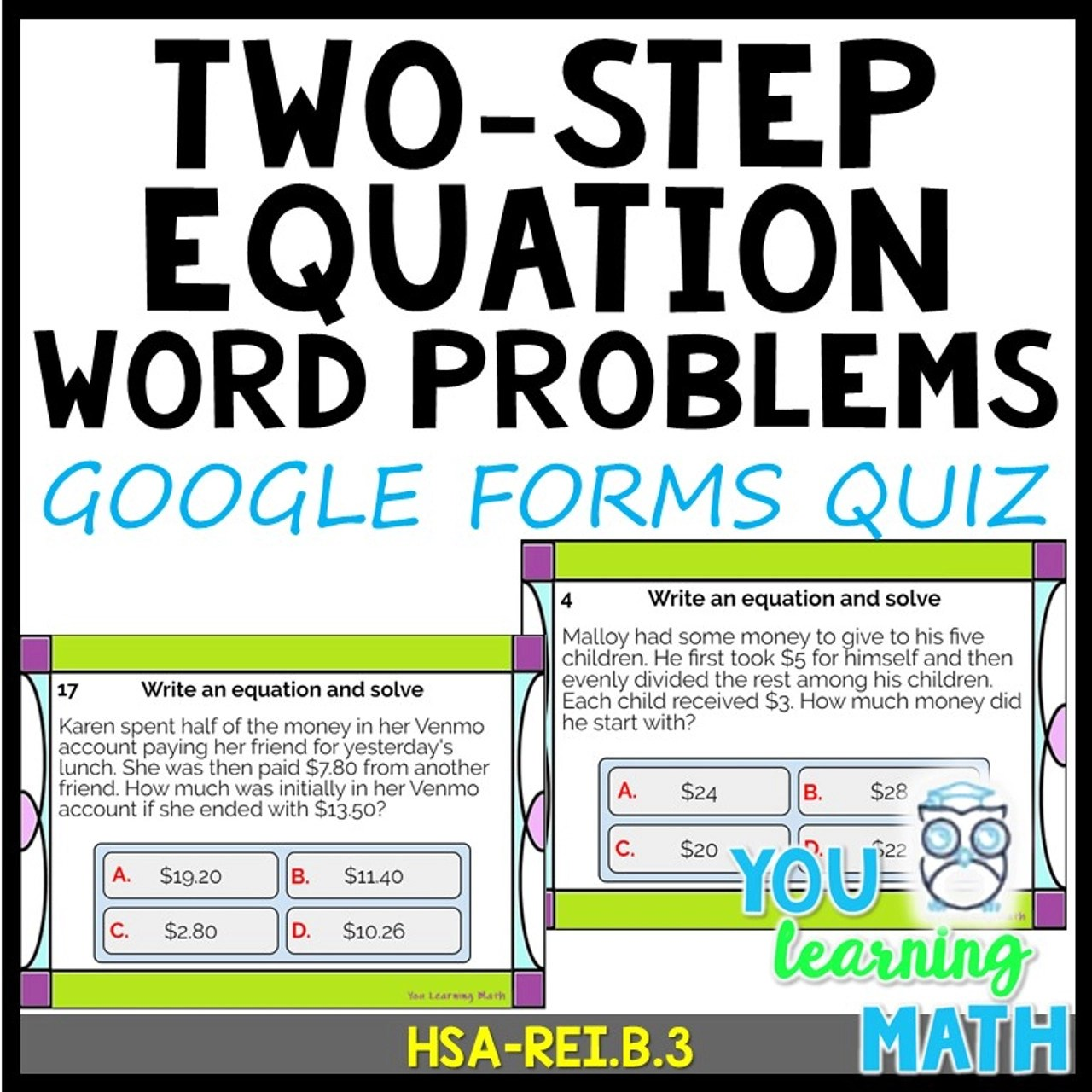 Two-Step Equation Word Problems: Google Forms Quiz - 20 Problems - Amped Up  Learning [ 1280 x 1280 Pixel ]
