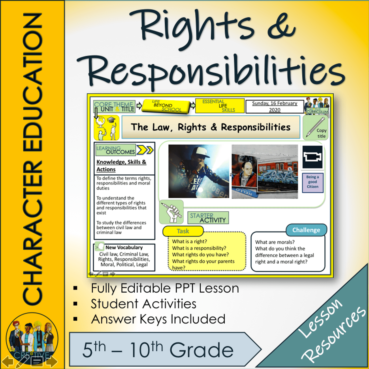 Rights and Responsibilities Lesson - Amped Up Learning [ 1280 x 1280 Pixel ]