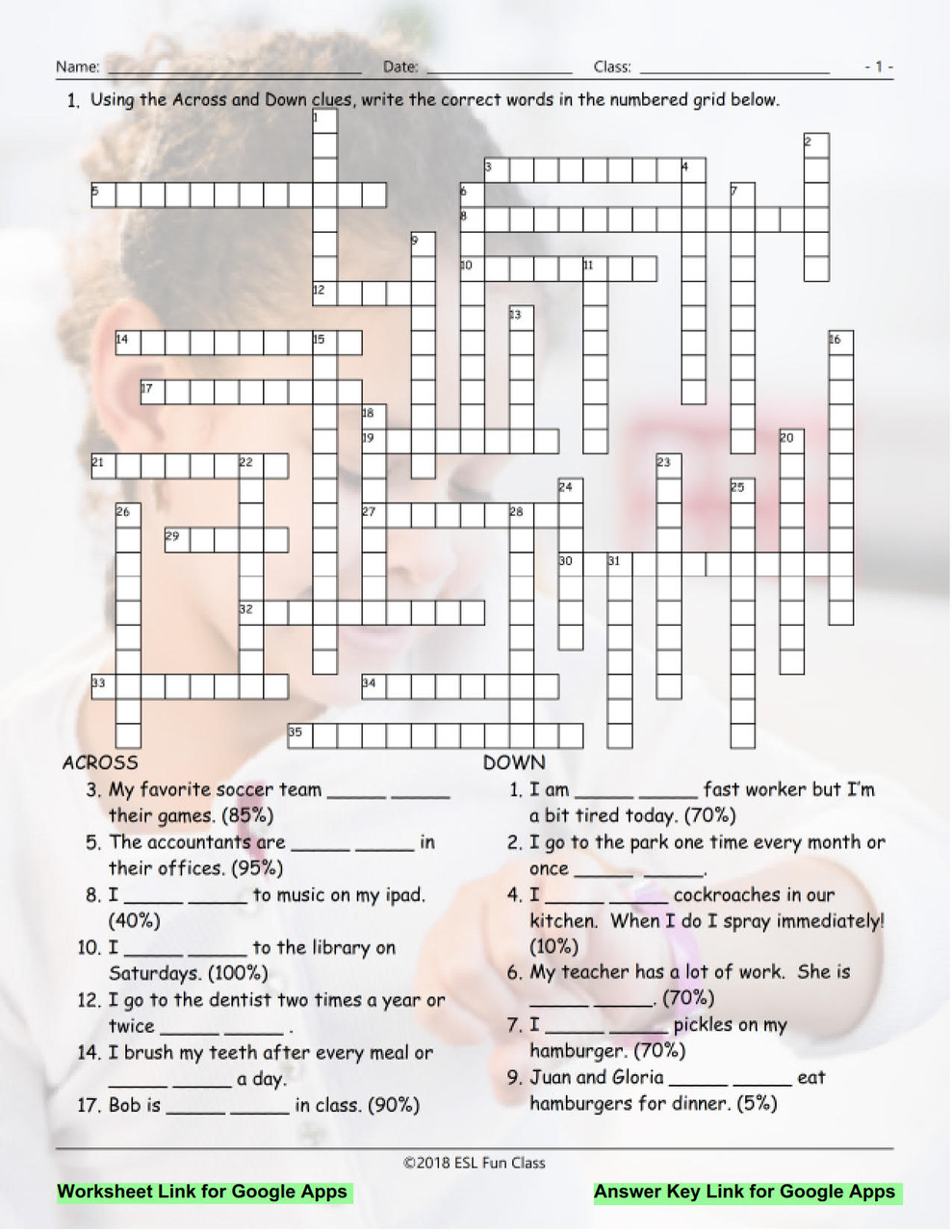 Frequency Adverbs-Time Expressions Interactive Crossword Puzzle for Google  Apps LINKS - Amped Up Learning [ 1280 x 989 Pixel ]