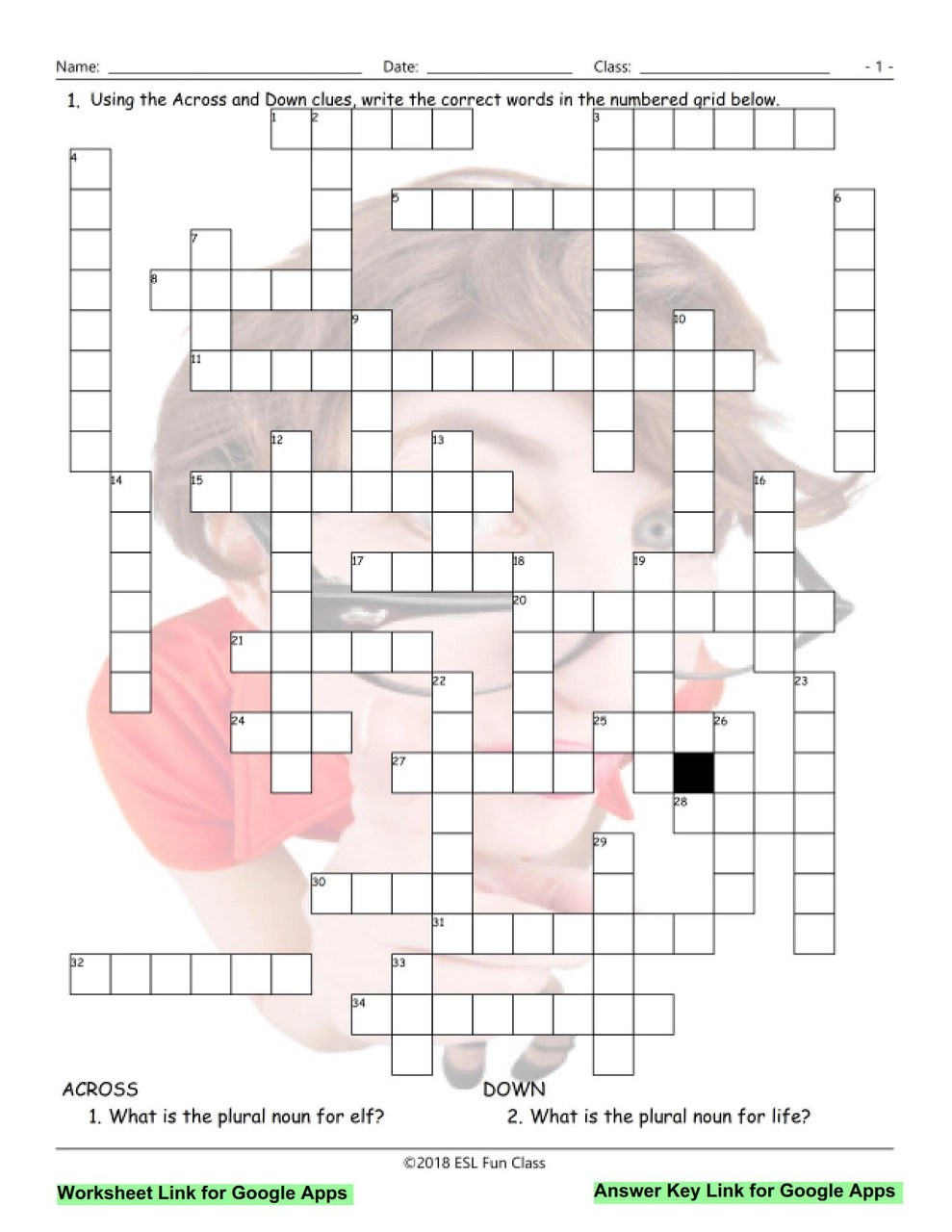 Irregular Plural Nouns Interactive Crossword Puzzle for Google Apps LINKS -  Amped Up Learning [ 1280 x 989 Pixel ]