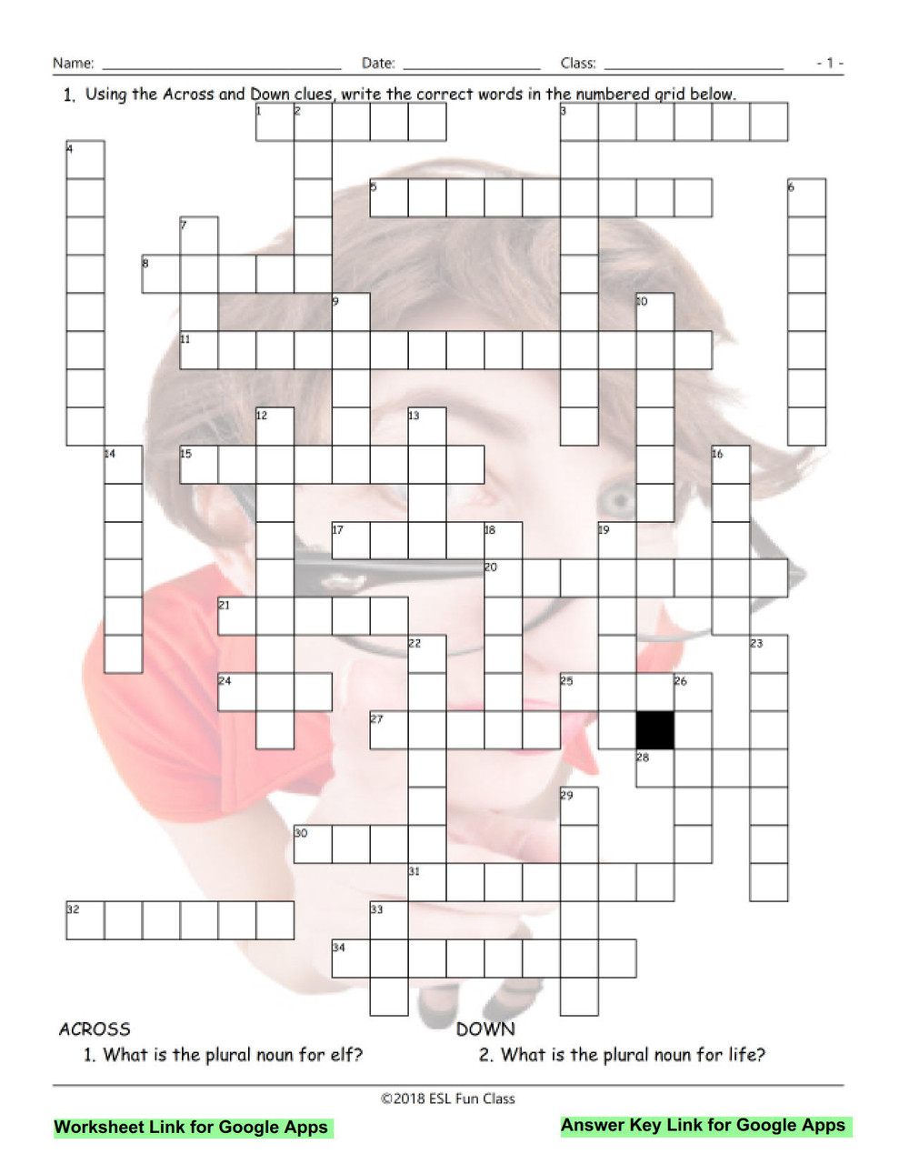 hight resolution of Irregular Plural Nouns Interactive Crossword Puzzle for Google Apps LINKS -  Amped Up Learning