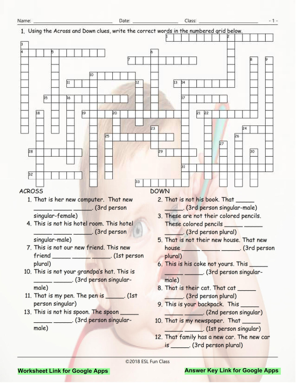Possessive Pronouns Interactive Crossword Puzzle for Google Apps LINKS -  Amped Up Learning [ 1280 x 989 Pixel ]